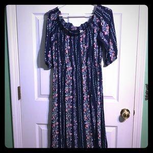 Floral Midi Over the Shoulder dress